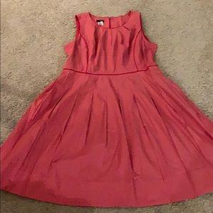 Talbots Red Polka Dot, Knife Pleated Dress. 16P